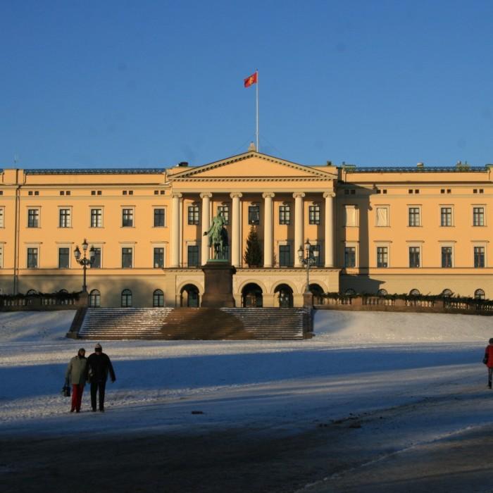 Le palais royal, monument norvégien en hiver, à Oslo