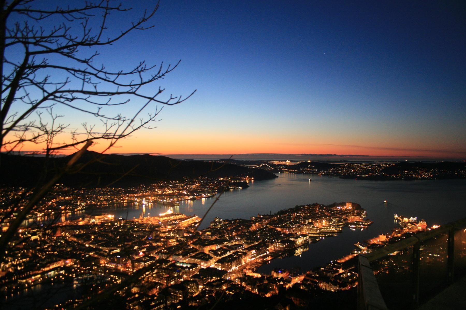 Coucher de soleil sur Bergen Norvège