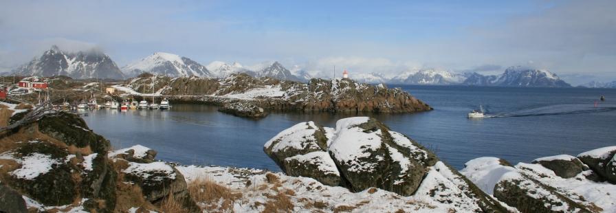 Port de Stamsund avec neige, Lofoten. Mars 2012
