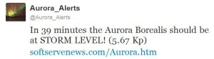 Twitter storm level aurora forecast
