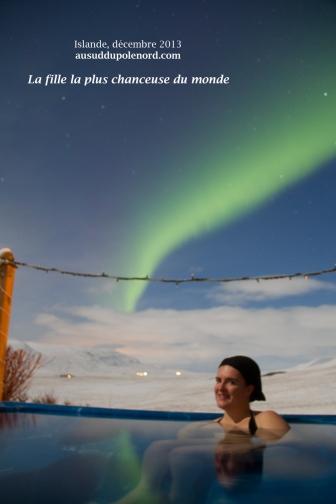 Aurore boréale et source chaude en Islande