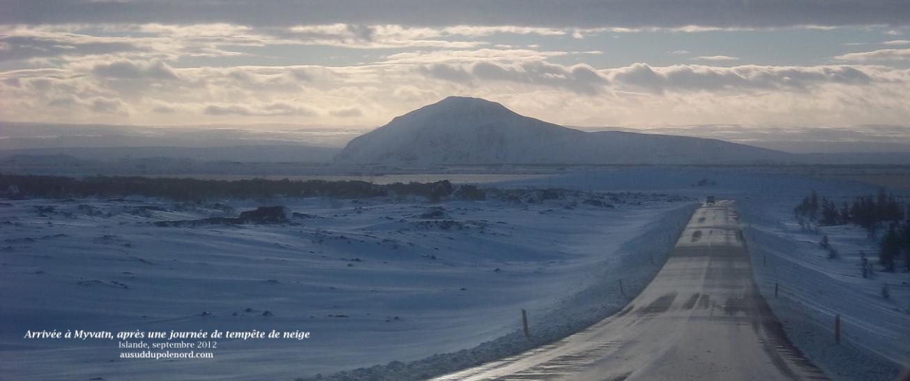 Myvatn sous la neige, Islande, route circulaire