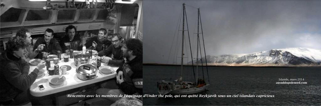 Les membres d'Under the pole en escale en islande, dans l'attente d'une fenêtre météo pour mettre le cap sur le Groenland