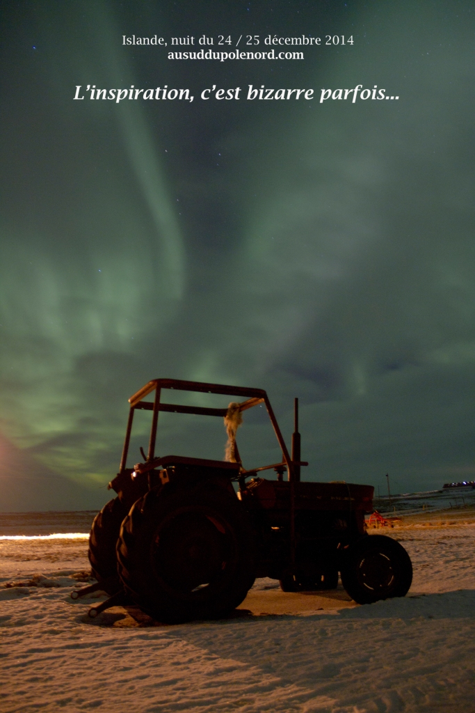 aurore boreale au tracteur islande NOEL 2014