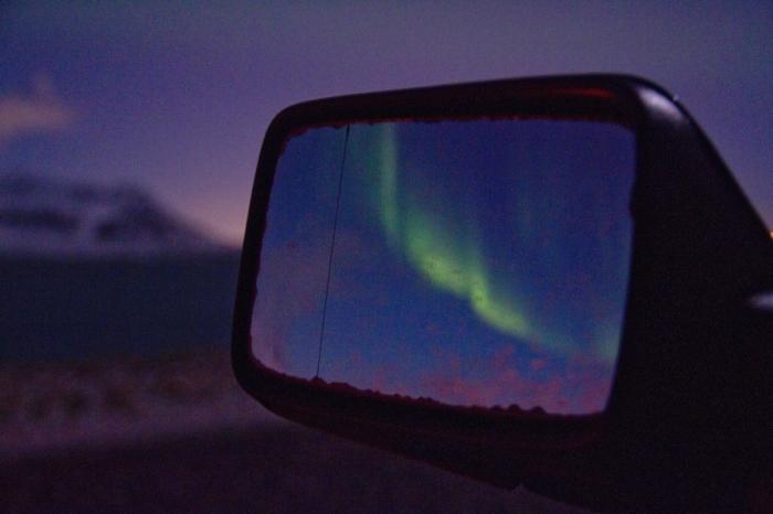 aurore boreale islande hiver rétroviseur
